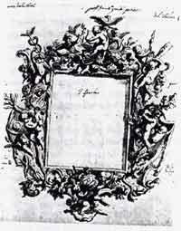 Andrea Brustolon: Disegno per cornice di specchio con putti