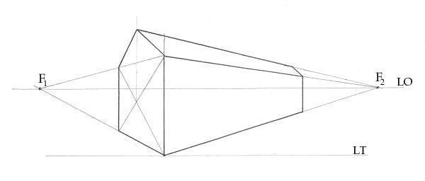 Una semplice casa ed il suo schema prospettico