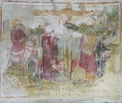 Morsasco (Al), Chiesa di San Vito -Affresco centrale: Crocifissione, XV secolo (autore ignoto)