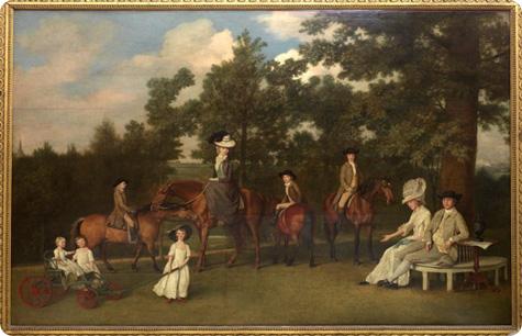Le Porcellane Wedgwood:Quadro rappresentante Sally e Josiah seduti nella panchina attorniati dai loro sette figli