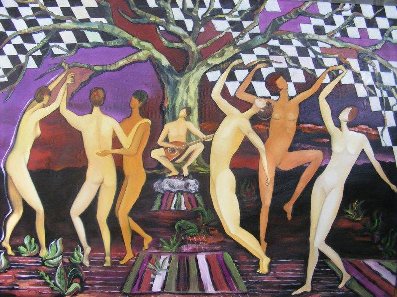 BALLO RITUALE: originale, olio su tela, anno 2012, misura 50/70 cm, senza cornice;