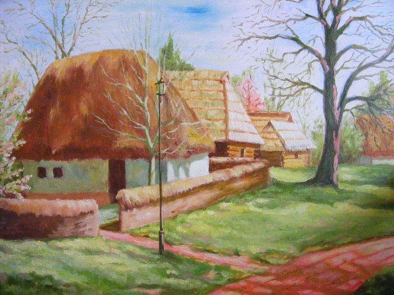 MUSEO DEL VILLAGGIO: originale, olio su tela, anno 2011, misura 30/40 cm, senza cornice. Ispirato dal Museo del villaggio all'aperto di Bucharest.