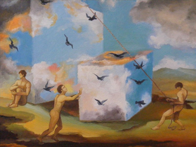 IL GIOCO DEL DESTINO: originale, olio su tela, anno 2012, misura 30/35 cm, senza cornice;