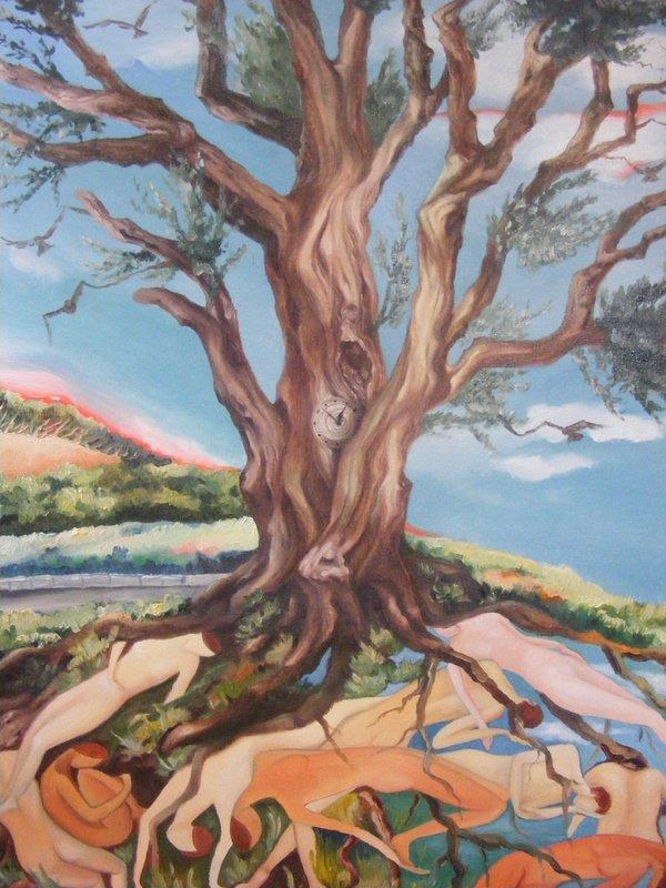 L'ALBERO DEL TEMPO: pittura originale a olio su tela, anno 2012, misura 50/70 cm, senza cornice;
