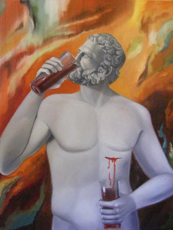 CICLICITA oppure Cristo versus Dionysos: pittura originale a olio su tela, anno 2012, misura 40/49 cm, senza cornice;