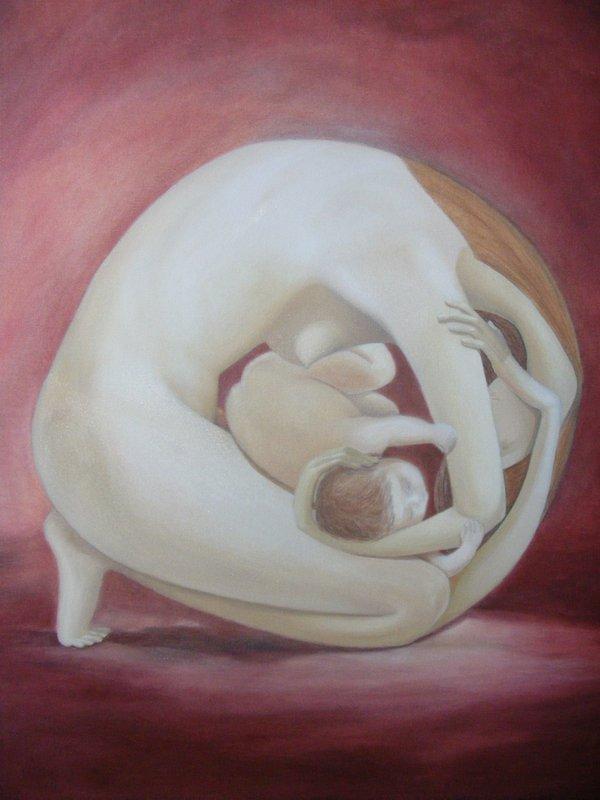 MATERNITA: pittura originale, olio su tela, anno 2012, 50/70 cm, senza cornice;