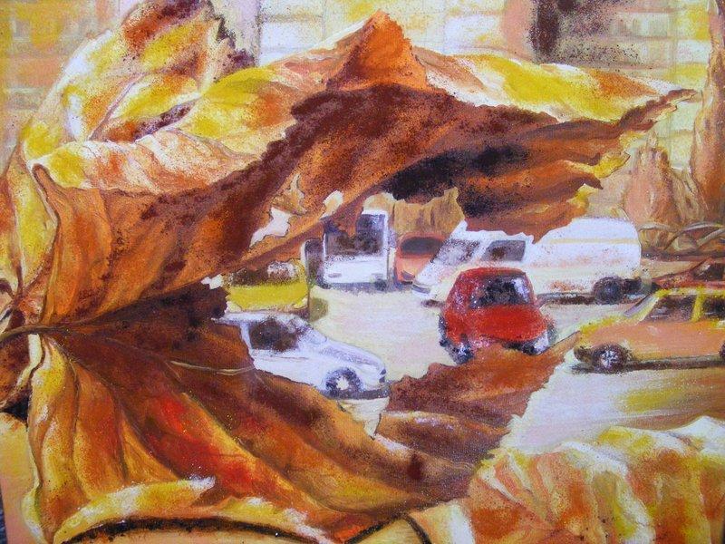 I PASSI D'AUTUNNO: originale, tecnica mista su tela, anno 2011, 40/50 cm, senza cornice;