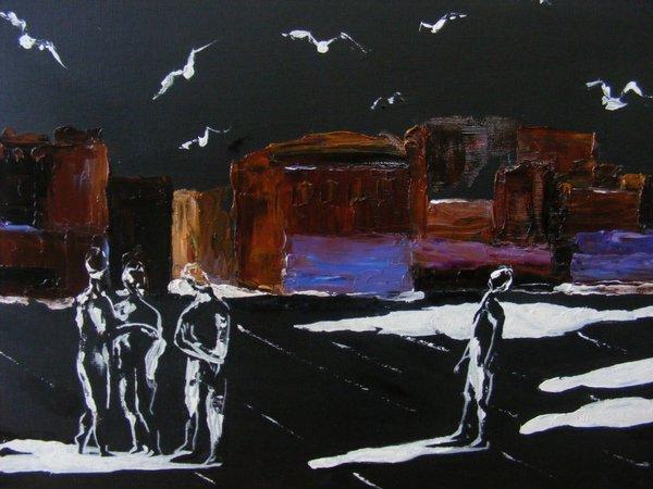 OMBRE BIANCHE: originale, tecnica mista su cartone telato, anno 2012, 30/40 cm, senza cornice;