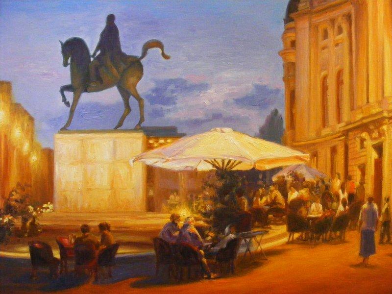 SOTTO L'OMBRA DI SERA: originale, olio su tela, anno 2011, 45/50 cm, senza cornice; (Piazza della Rivoluzione di Bucarest,con la statua equestre del re Carol I);
