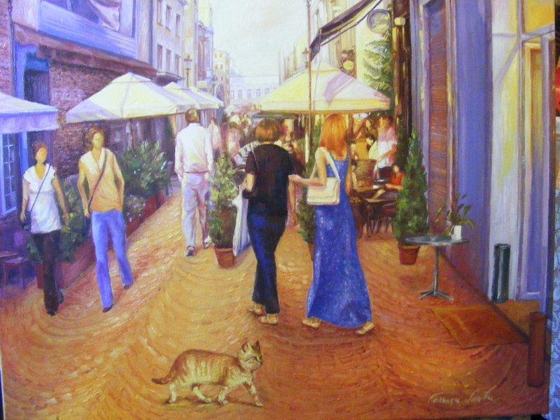 PAESAGGIO URBANO: originale, olio su tela, anno 2011, 60/70 cm, senza cornice, (Strada Lipscani di Bucarest)