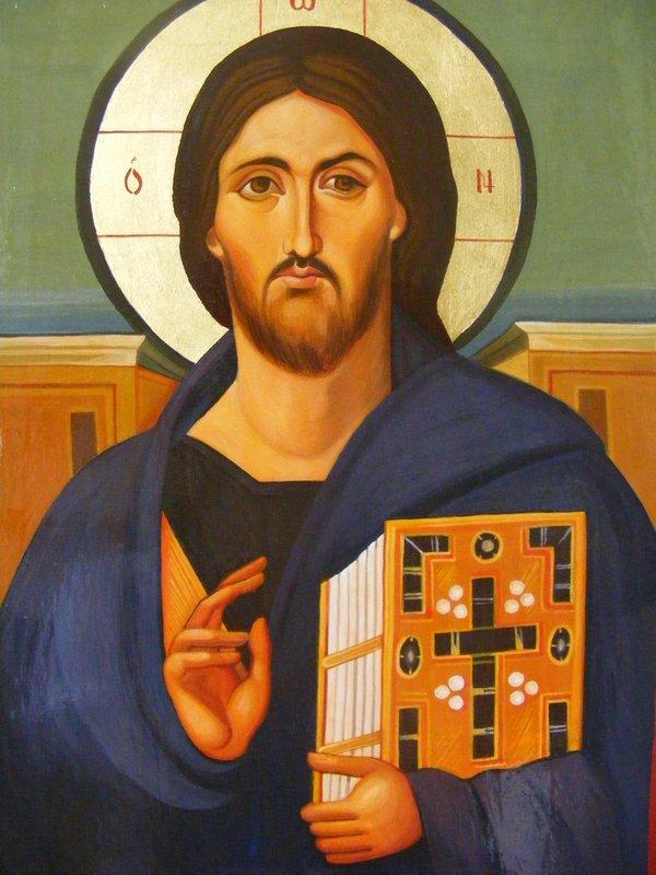 CHRIST 1:  tempera all'uovo e oro su tavola di tiglio, anno 2012, 21/30 cm, riproduzione dopo Cristo Pantocratore del Monastero St. Caterina, Monte Sinai;