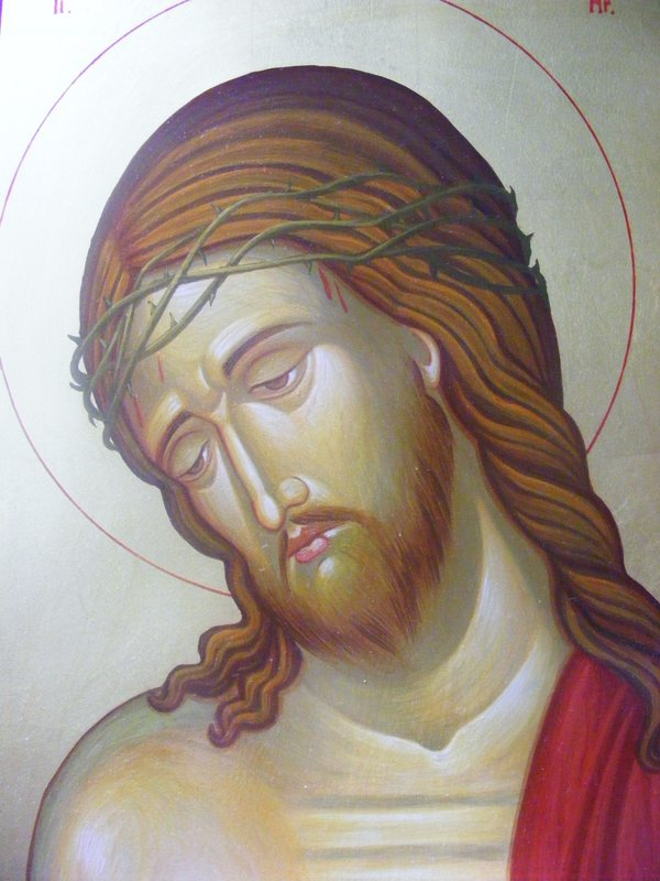 CHRIST 2: originale, tempera all'uovo e oro su tavola di tiglio, anno 2010, 21/30 cm, senza cornice;